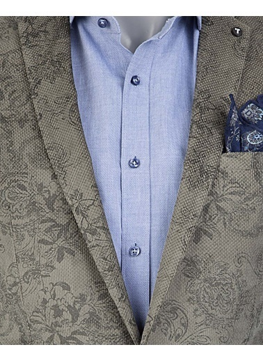 Tween Slim Fit Desenli Kumaş Ceket Gri